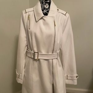 Wool coat with gold tone buckle